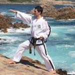 Master Rhee performs flat fingertip thrust (WA, Australia)